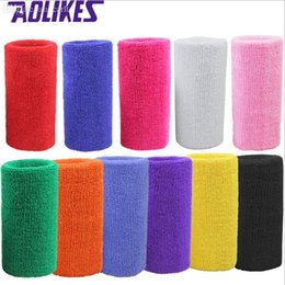 hair wristbands Australia - Wholesale-1 pc 15*7.5 cm terry cloth wristbands sport sweatband hand band for gym volleyball tennis sweat wrist support brace wraps guards