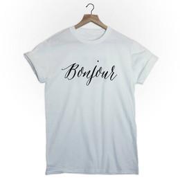 69614010b Hello sHirts online shopping - French Harajuku Printing T shirt Bonjour T  shirt Women Clothes Summer