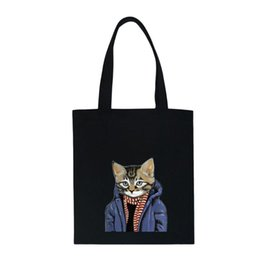 large canvas prints black white NZ - Cool Cat Printed Tote Bag For Women Fashion Canvas Large Capacity Reusable Shopping Bag Women Outdoor Beach Daily Handbag