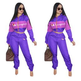 Girl s piece suits online shopping - Women Tracksuit Champion Letter Print Long Sleeve Crop Top Pants Leggings Set zipper jacket Sportswear Clothing Suit outfit S XL hot