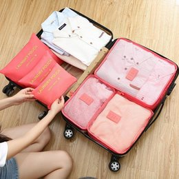 Types Set Clothes Australia - Hot 6 Pcs Travel Storage Bag Set For Clothes Tidy Organizer Wardrobe Suitcase Pouch Travel Organizer Bag Case Shoes Packing Cube Bag