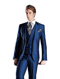 Bussiness Suits Australia - Men's Two-Button Designer Suits 3-Piece Tuxedos Set Wedding Prom Party Event Slim Fit Suit for Wedding Bussiness