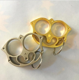 Punching ring online shopping - outdoor finger boxing protective gear Punch button KNUCKLE DUSTERS GOLD Powerful damage safety equipment self defense ring finger tool