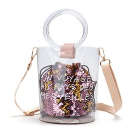 Clear totes wholesale online shopping - Fashion Women Shoulder Bag Transparent Glitter Bucket Handbags Summer Cross body Bags for Ladies Letter Clear Female Totes