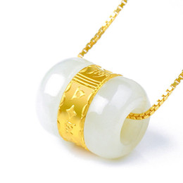 $enCountryForm.capitalKeyWord UK - 999 Gold Inlaid Natural Hetian Jade Pendant Necklace Lucky Tube Beads Wholesalefor women