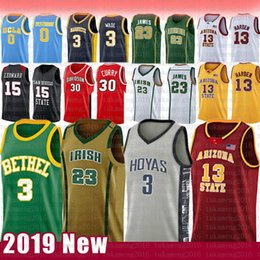rosso 3 Iverson NCAA Basketball Jersey Arizona University High School di Stato Bethel irlandese maglie 23 James 2 Leonard 3 Wade 11 Irving 30 Curry in Offerta