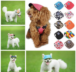 Sombrero para perros con agujeros para los oídos Gorra de béisbol de lona de verano para perros pequeños para mascotas Accesorios al aire libre Senderismo Productos para mascotas 11 estilos Envío gratis en venta