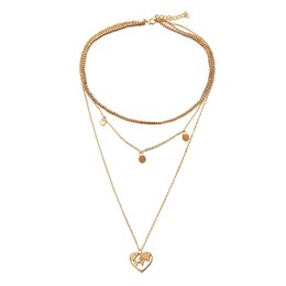 $enCountryForm.capitalKeyWord UK - Creative Vintage Small Round Heart shaped Hollow Map Pendant Necklace New Three Layer Necklace Women Fashion Jewelry