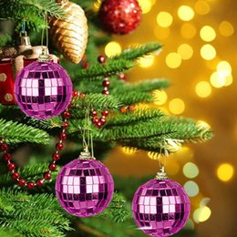 Discount disco ball decorations - 6 Pcs Reflective Mirror Ball Rotating Colored Lob Disco Party Hanging Decoration Christmas Tree Wedding Birthday Party O