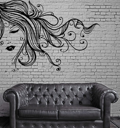 $enCountryForm.capitalKeyWord UK - Sexy Girl Vinyl Wall Stickers Face Full Lips Curly Long Hair Wall Art Mural Decal Sticker Self-adhesive Art Wall Tattoo