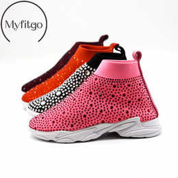 kids white socks black shoes Australia - Myfitgo Shiny Rhinestone Kids Stretch Sock Sneakers Air Mesh Girls Flat Casual Shoes Boy Sport Walking Boots Girls Crystal ShoesMX190919