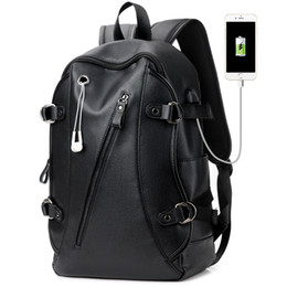 male laptop bags 2019 - 16 Inch Laptop Backpack PU Leather Buiness Backpacks for Men Casual School Bag Male Large Capacity Double Shoulder Bags