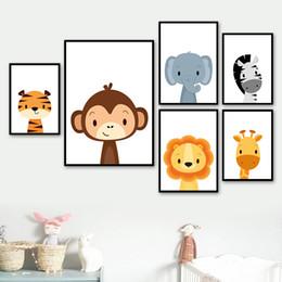 $enCountryForm.capitalKeyWord Australia - Monkey Elephant Zebra Giraffe Nursery Wall Art Print Canvas Painting Nordic Posters And Prints Wall Pictures For Living Room