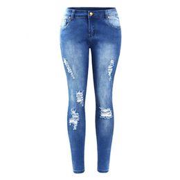 $enCountryForm.capitalKeyWord UK - Plus Size Ripped Fading Jeans Women`s True Denim Skinny Distressed Jeans For Women Jean Pencil Pants