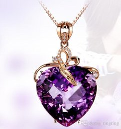 Heart Necklaces Silver NZ - 2018 Fashion Silver Wedding Purple Stone Amethyst Heart Pendant Necklace Band Jewelry Women Brithday Party Christmas Gift Wholesale
