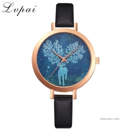 $enCountryForm.capitalKeyWord NZ - Ladies Leather Strap Bracelet Watch Cartoon Rose Gold Wrist Watches For Women Animal Deer Women Dress Quartz Watches