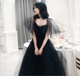 d82d7b3852 2019 New Sling Backless Sexy Black Vintage Slim Evening Dress Birthday  Party Performance Banquet Peng Peng Skirt Nets Bobo Point