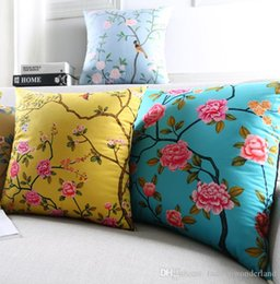 cushion cover black bird UK - Spring Flower Birds Cushion Covers 3D Stereo Colorful Blooming Floral Pillows Case 12 Styles Bedroom Sofa Decoration