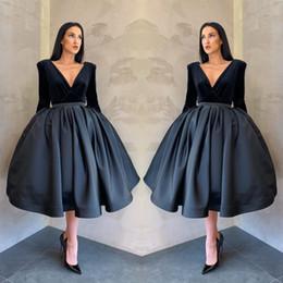 02414a0894 Black velvet homecoming dresses online shopping - 2019 Graceful Long Sleeve  Velvet A Line Prom Dress