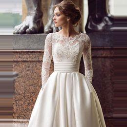 $enCountryForm.capitalKeyWord Australia - Modest Long Sleeve Wedding Dresses Turkey Scoop Satin Appliqued A-line Bridal Gown with Pockets Vestidos de Novia