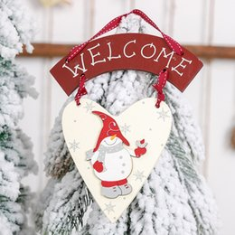 wall hanging signs Australia - Christmas Wooden Tree Door Wall Hanging Plaque Sign Pendant Ornament Decoration
