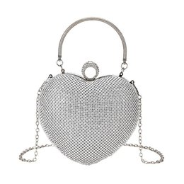 shoulder clutch bags NZ - New Fashion Heart Women Wedding Evening Bags Full Rhinestones Finger Clutches Small Handle Chain Shoulder Party Handbags Purses