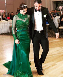 turkey mermaid dress black NZ - Emerald Green Mermaid Evening Dresses With Detachable Overskirt High Neck Sheer Long Sleeves Lace Beaded Turkey Prom Dresses Party Gowns