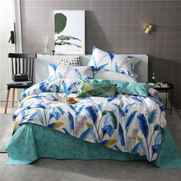 $enCountryForm.capitalKeyWord Australia - White Green Bedding Sets Duvet Cover Banana leaf Bed Sheets Pillowcases twin queen king quilt Comforter cover fashion bedclothes
