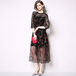 2019 Lace Floral Print Long Dress Little Black Dress Sexy Party Cocktail  Dress Elegant Grenadine Embroidery Vintage A Line Dresses a146bfe22aa7