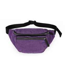 Wholesale Pillow Packs NZ - Zipper Waist Pack Sport Solid Chest Bag Corduroy Casual Cross Body Fashion Girl Boy Belt Street Phone Mini