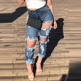 wholesale ripped jeans for women Australia - Boyfriend Hole Ripped Jeans Women Pants Cool Denim Vintage Straight Jeans For Girl High Waist Casual Pants Female Slim Jeans#J30