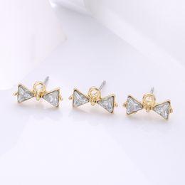 Crystal Stud Metal Australia - wholesale 30 PCS Fashion Metal Alloy Crystal Rhinestone Bowknot Stud Earring Base Settings With a Loop For Jewelry Making