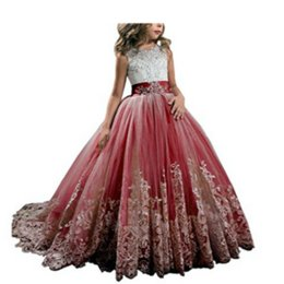 $enCountryForm.capitalKeyWord Australia - Little Girl Kids Clothing Lace Applique Full Length Ball Gown Flower Girl Dress Wish Bow Sash For Wedding Formal Occasion party F05
