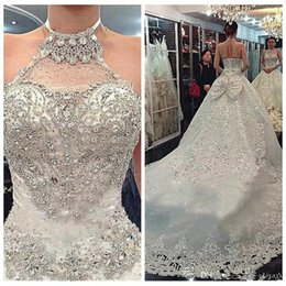 Sexy Sparkle princeSS wedding dreSS online shopping - Bling Bling Halter Luxurious Crystal Beaded A Line Wedding Dresses Lace Appliques With Bow Back Bridal Gowns Sparkling Lace Up Back