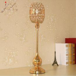 Gourd art online shopping - Gold candle holders event candlesticks party creative gourd shape crystal wedding centerpiece candelabra set