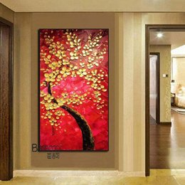 modern floral oil paintings Australia - 100% Hand Painted Oil Painting Gold Flowers Tree Painting Modern Fashion Home Wall Decoration For Christmas gift
