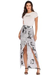 Club Clothes for girls online shopping - 2019 newspaper club Hot for girls Selling Dresses kids Women Clothes Fashion Long A Line party Casual Loose A skirts Print Size slit dress