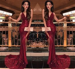 Lace Party Dress Usa Australia - 2019 Sparkly Burgundy V Neck Sequins Mermaid Prom Dresses Sexy High Slit Straps Vestidos De Fiesta Cheap USA Formal Long Cocktail Party Gown