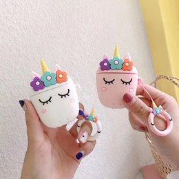 glitter case silicone NZ - Cute Silicone cartoon unicorn apple airpods case wireless bluetoother protector animal liquid glitter fruit case cover airpods earbuds bags