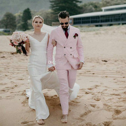 $enCountryForm.capitalKeyWord Australia - Cheap Light Pink Double Breasted Wedding Tuxedos Peaked Lapel Slim Fit Groomsmen Wear Tailor Blazer and Pants for Prom Clothing