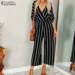$enCountryForm.capitalKeyWord Australia - Fashion Zanzea 2019 Women Jumpsuit Summer Casual Wide Leg Pant V-neck Short Sleeve Striped Rompers Office Long Playsuit Bodysuit MX190726