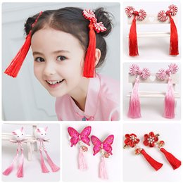 d95938a63 New Tassel Hairpin Chinese Style Children Hair Barrettes New Year 5 Petals  Flower Clip Baby Girl Hair Accessories