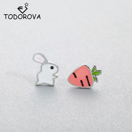 rabbit earrings NZ - Todorova Cute Animal Bunny Rabbit Carrot Stud Earrings for Women Enamel Asymmetry Creative Cartoon Ear Jewelry for Child Girls