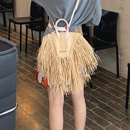 Wholesale New Spring And Summer Women Bags Tassels Natural Straw Paper Single Chain Cross Body Small Packages Vacation