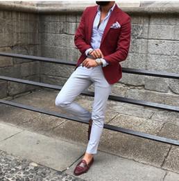 $enCountryForm.capitalKeyWord Australia - Custom Made Burgundy Men Suit Blazer Men Tuxedo Prom Party Suits for Wedding Slim Fit Custom Business Suit Men 2 Piece(Coat+ Pants )