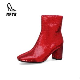 Wholesale MFYB Women s boots winter new fashion square head high heeled sequins women s short boots large size