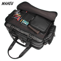 Wholesale MAHEU Name Brand Designer Mens Briefcase Soft Cowskin Leather Laptop Bag For Business Travel Tote Big Bag For Male Black Brown