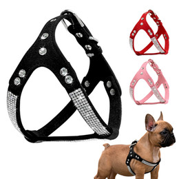 MediuM rhinestone dog harness online shopping - Rhinestone Puppy Harness Suede Leather Small Dogs Harness Bling Crystal Cat Dog Vest Adjustable For Chuihuahua French Bulldog