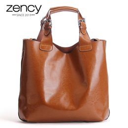 Vintage Brown Leather Laptop Bag Australia - Zency 100% Genuine Leather Retro Brown Women Handbag Lady Big Tote Bag Laptop Classic Coffee Female Shoulder Bags Shopping Purse J190613