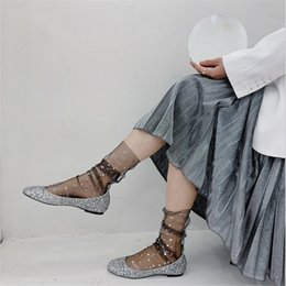 Wholesale see through socks online – funny New Women Lace Mesh Sheer Socks Transparent Tulle Lace Ankle Gliter Sequined See Through Summer Thin Sock